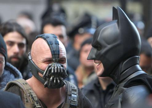 "Le méchant de ""The Dark Knight Rises"" face à Batman, sur le tournage du film"