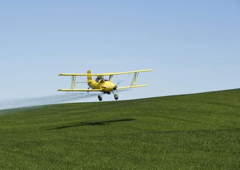 Un avion répend des pesticides sur un champ (illustration)