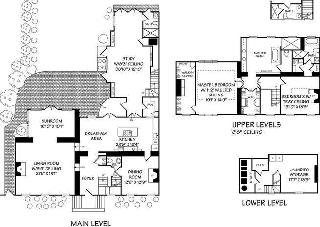 Le plan du 2613, Dumbarton Street, Washington DC <em>DR</em>