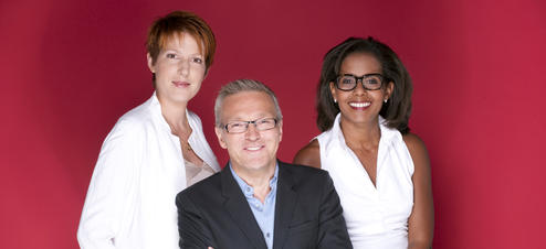"Natacha Polony, Laurent Ruquier et Audrey Pulvar, le trio du divertissement ""On n'est pas couché"""