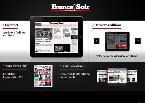 Accueil de l'application iPad France-Soir