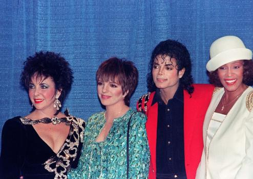 Elizabeth Taylor, Liza Minnelli, Michael Jackson et Whitney Houston à New York en 1988